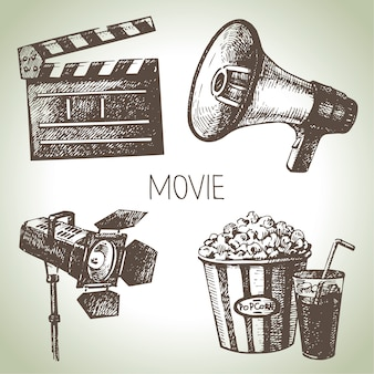 Film und filmset. hand gezeichnete vintage illustrationen