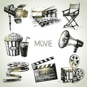 Film und filmset. handgezeichnete vintage-illustrationen
