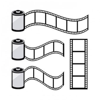 Filmdesign über weißer hintergrundvektorillustration