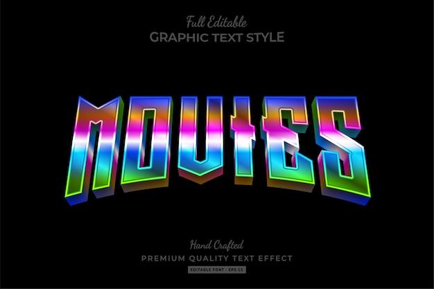 Filme 80er gradient bearbeitbarer premium-texteffekt
