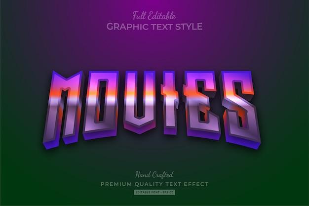 Filme 80er gradienten bearbeitbarer textstil-effekt