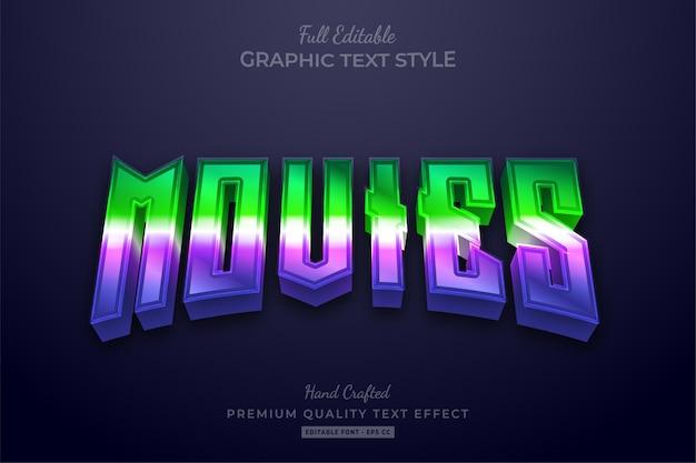 Filme 80er jahre farbverlauf grün lila bearbeitbarer texteffekt Premium Vektoren