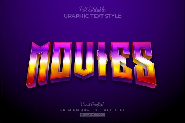 Filme 80er jahre retro gradient bearbeitbarer premium-textstil-effekt