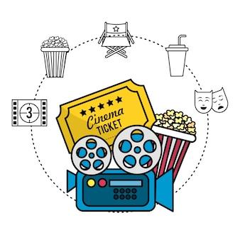 Filmkamera mit ticket und popcorn