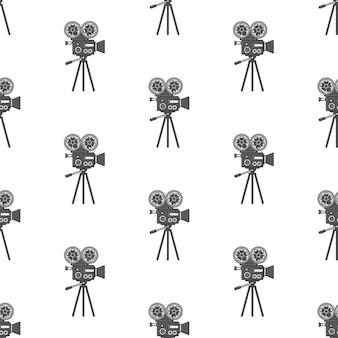 Filmkamera nahtloses muster auf einem weißen hintergrund. filmthema-vektorillustration