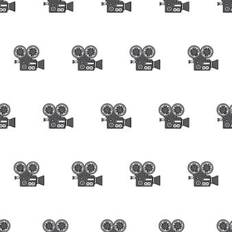 Filmkamera-nahtloses muster. film- und filmthema-illustration