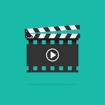 Filmklappe mit filmstreifen isoliert