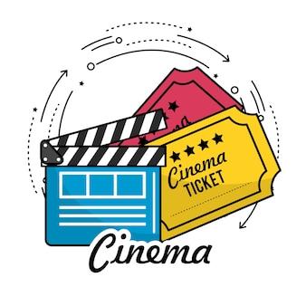 Filmklappe mit kinokarten szene
