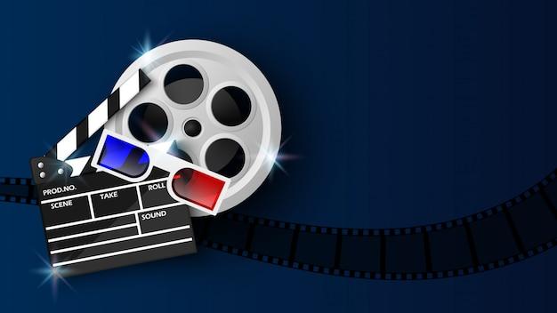 Filmklappe und filmrolle auf blau