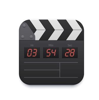 Filmklappe, videoaufnahme-schnittstellensymbol, vektor-tv und online-kino-app. kino- oder fernsehplayer und videoröhrenrekorder, medienkanal-anwendungsschnittstellensymbol der klappe