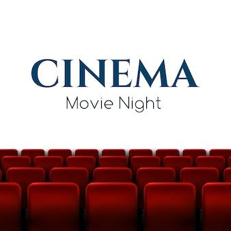 Filmpremiereplakatdesign mit roten sitzen.