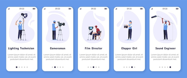 Filmproduktion onboarding mobile app bildschirm vektor-vorlage