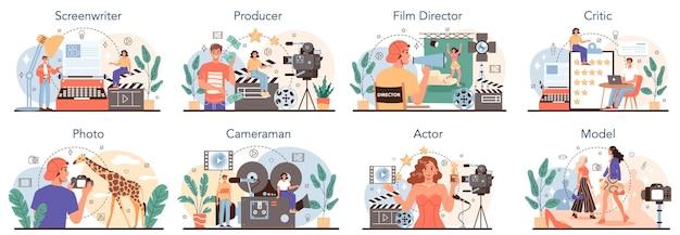 Filmproduktion und showbusiness-beruf set drehbuchautor produzent