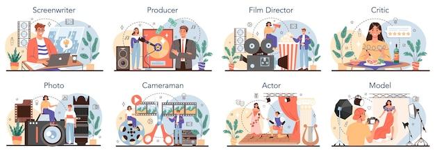 Filmproduktion und showbusiness-besetzung eingestellt. drehbuchautor, produzent, filmregisseur, schauspieler, kameramann, kritiker, fotograf und model. sammlung moderner berufe. flache vektorillustration