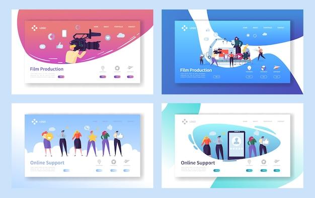 Filmproduktionsset konzept landing page. personencharakter mit kameraaufnahme film bearbeiten. online-chat-support-technologie auf der smartphone-website oder webseite flat cartoon vector illustration