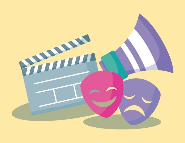 Filmregisseur mit megaphon und masken