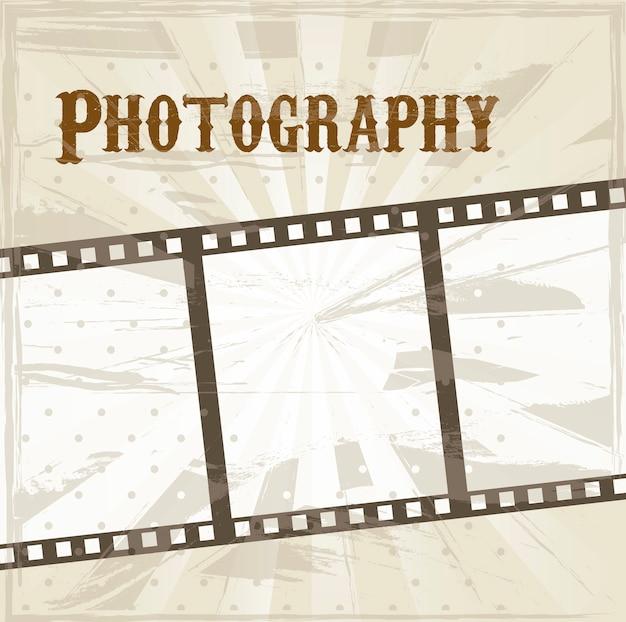 Filmstreifen über beige hintergrundvektorillustration