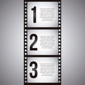 Filmstreifen über grauer hintergrundvektorillustration