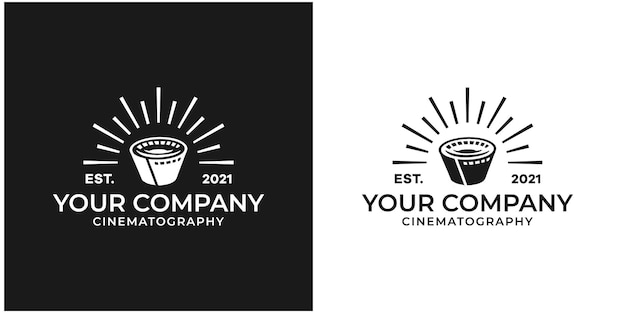 Filmstreifenrollenbänder, filmrollenstreifen, filmkino-videostudio-produktionslogo-design premium-vektor