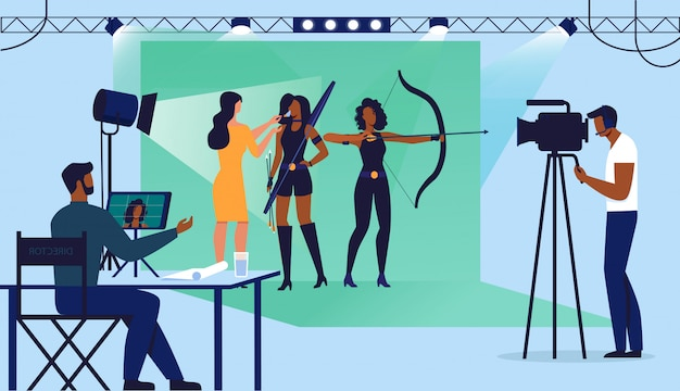 Filmstudio-schießen stellte flache vektor-illustration ein