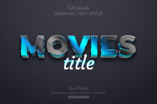 Filmtitel blau schwarz eleganter bearbeitbarer premium-texteffekt-schriftstil