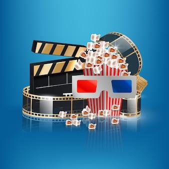 Filmzeitvektorillustration mit popcorn, filmklappe, 3d-brille und filmstreifen.