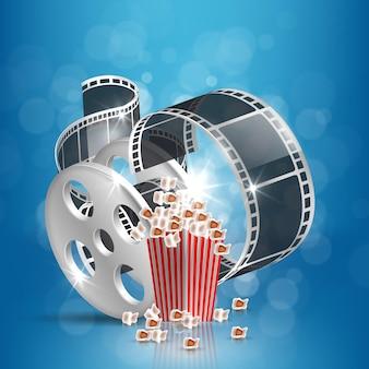 Filmzeitvektorillustration mit popcorn und filmstreifen.
