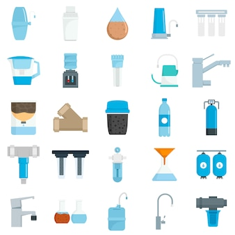 Filter wasser icon set