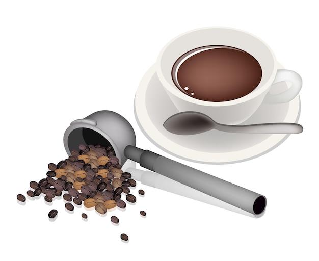 Filterhalter für kaffeemaschine mit heißem kaffee
