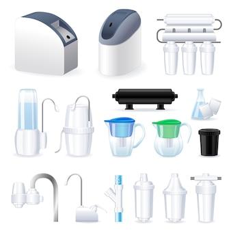 Filterwassersymbol. cartoon-set Premium Vektoren