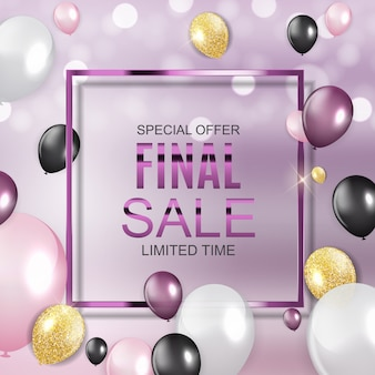 Final sale banner mit luftballons