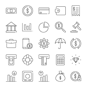 Finance icon pack, mit umriss-symbol-stil