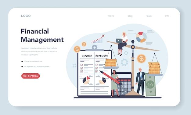Financier web template oder landing page konzept.