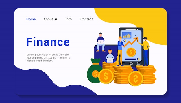 Finanz landing page template design illustration
