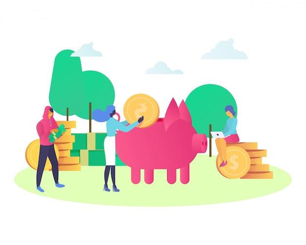 Finanz- und bankspargeldkonzept mit mini-kunden bringen geld zu schwein-sparbüchse isoliert auf weißer illustration.