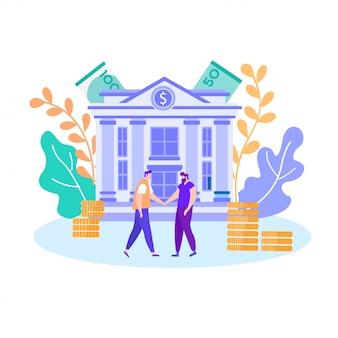 Finanzabkommen-geschäfts-händeschütteln, das geld erhält