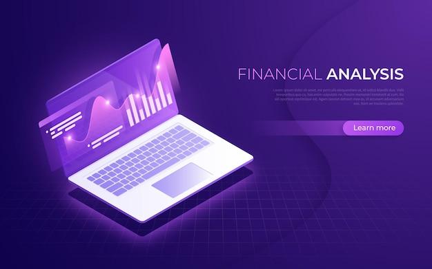 Finanzanalyse, analysedaten, isometrisches konzept der geschäftsstrategie.