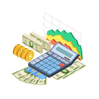 Finanzanalyse, buchhaltungskonzept. bargeld, kreditkarten, münzen, taschenrechner und grafik isometrisch