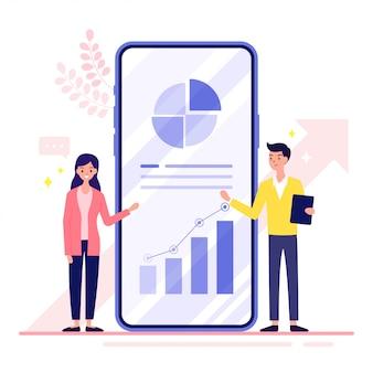 Finanzanalysten frauen und männer erklären, wie der finanzielle wert durch smartphones gesteigert werden kann.