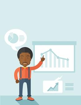 Finanzbeamter, der ein finanzdiagramm zeigt.