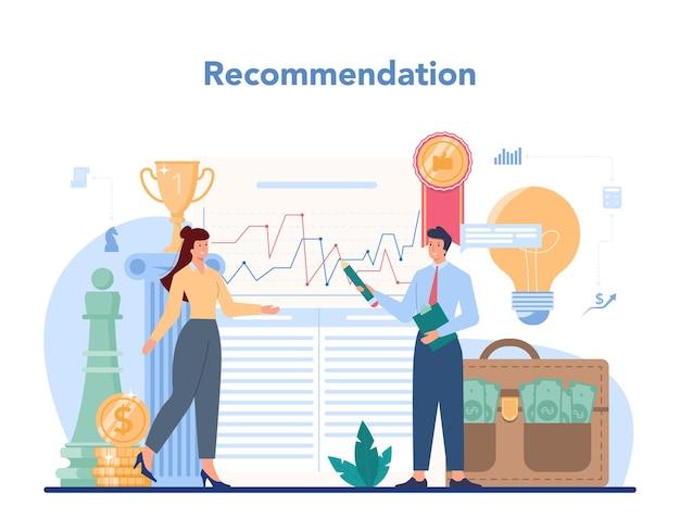 Finanzberater. business charakter beratung der finanzoperation. marketingempfehlung, budgetierung, zustandsbewertung.