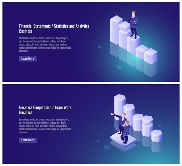 Finanzbericht, statistiken und analysen, geschäftliche zusammenarbeit, teamarbeit