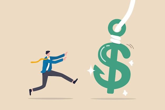 Finanzbetrug, illegaler investitionsbetrug oder ponzi-programm, das geld aus dem konzept der gierigen menschen stiehlt, gieriger geschäftsmann-investor, der läuft, um geld zu fangen us-dollar-zeichen mit verstecktem phishing-köder.