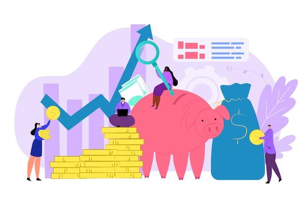 Finanzbudget, gelddiagrammkonzeptillustration. finanzdiagramm und unternehmensinvestitionsdiagramm, gewinnanalyse. menschen machen cash-banking-strategie für das wirtschaftsmanagement.
