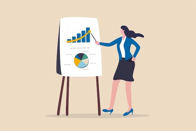 Finanzdatenanalysebericht, statistik- oder wirtschaftsforschungskonzept, geschäftsfrau, die in der sitzung grafik und grafik an bord präsentiert.