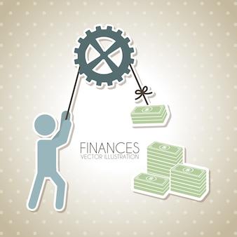 Finanzdesign über punktierter hintergrundvektorillustration