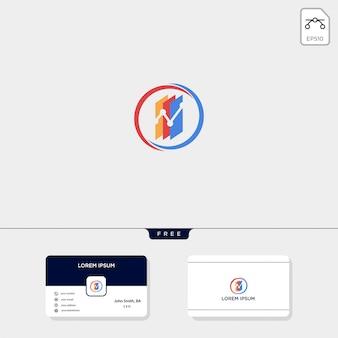 Finanzdiagramm-logo-vorlage kostenlose visitenkarte-design
