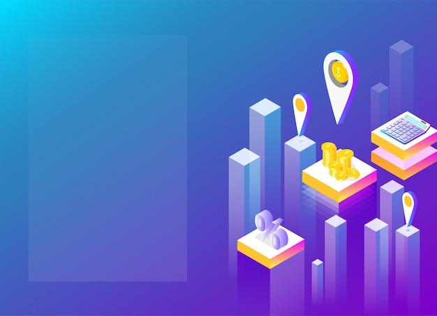 Finanzdienstleistung und apps blaues spektrum hintergrund landing page oder präsentationsvorlage abstrakte isometrische darstellung