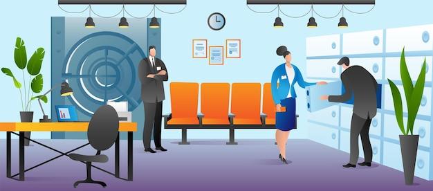 Finanzdienstleistungskonzept, vektorillustration. flache mannfrauenfigur nehmen geld aus einer sicheren bankzelle. arbeiter helfen dem kunden mit bargeld, münzschutz und sicherheitsdesign.