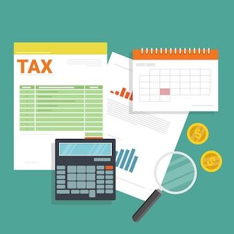 Finanzdokumente und kalender mit einem taschenrechner